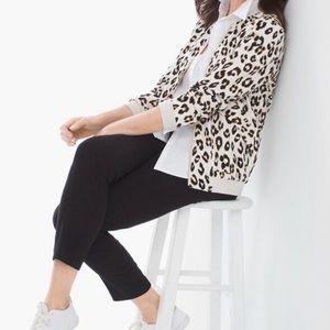 Chico's Leopard Animal Print Bomber Jacket